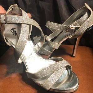 Fioni Night Silver Glitter and Chrome Heels